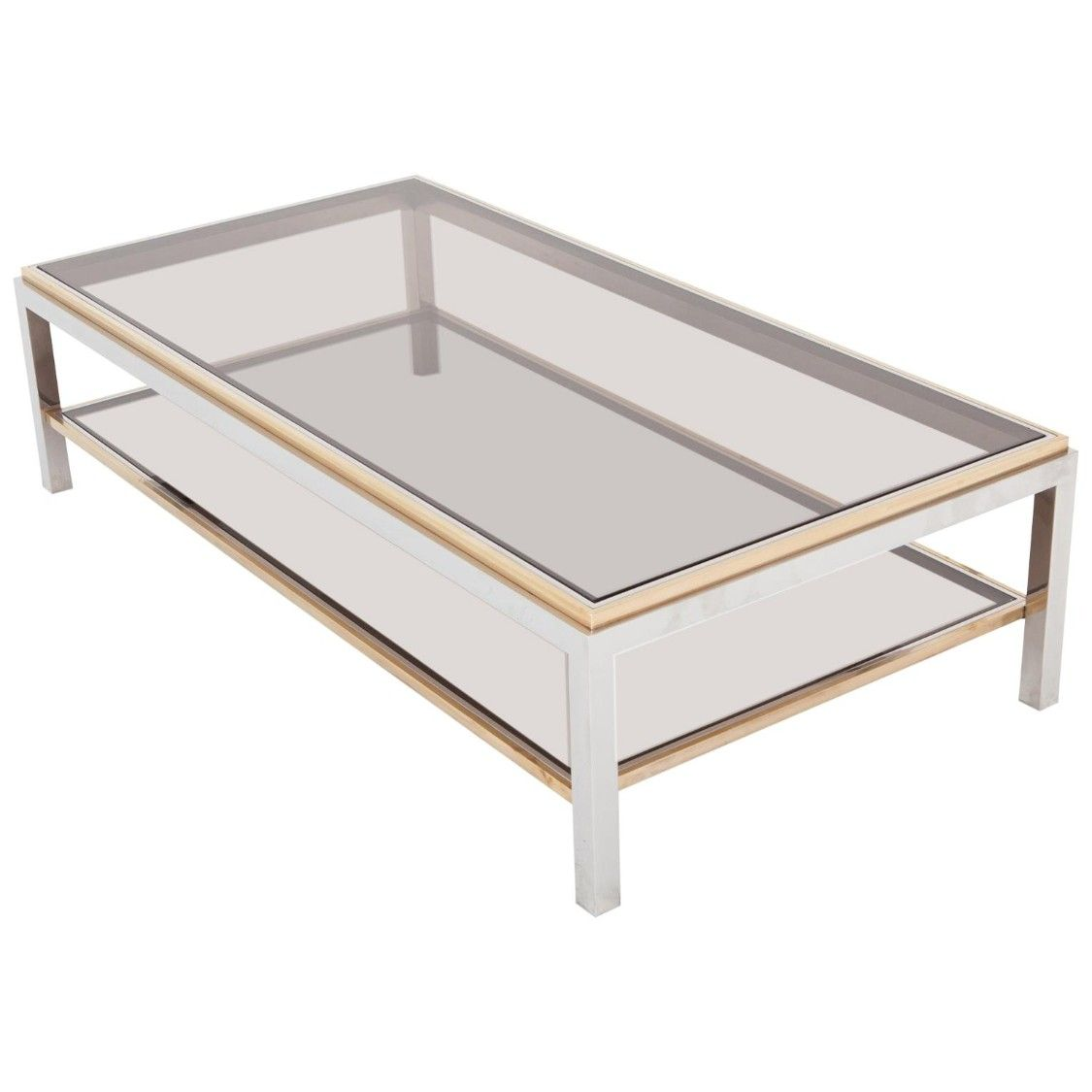 Willy Rizzo Rectangular Coffee Table In Brass Chrome And Glass