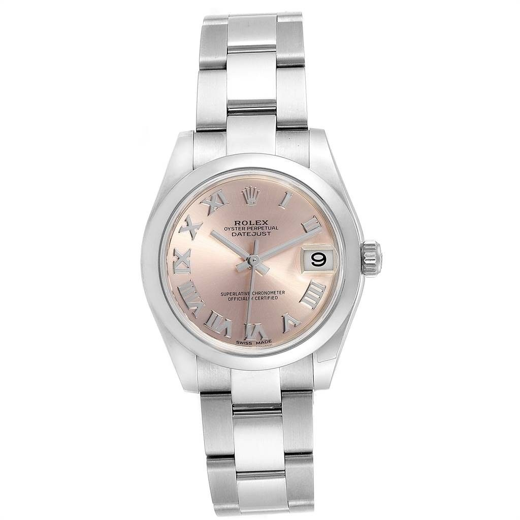 Rolex MIDSIZE DATEJUST ROSE DIAL STEEL LADIES WATCH 178240 BOX CARD