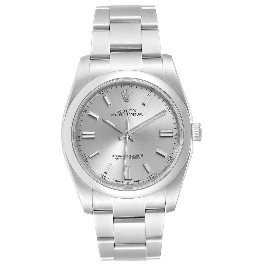 Rolex OYSTER PERPETUAL 36 RHODIUM DIAL STEEL MENS WATCH 116000 BOX CARD