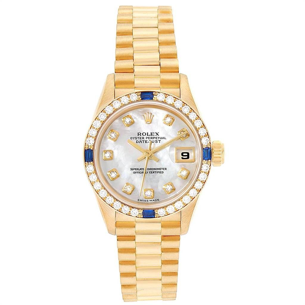 Rolex PRESIDENT DATEJUST YELLOW GOLD DIAMOND SAPPHIRE LADIES WATCH 79088 BOX PAPERS