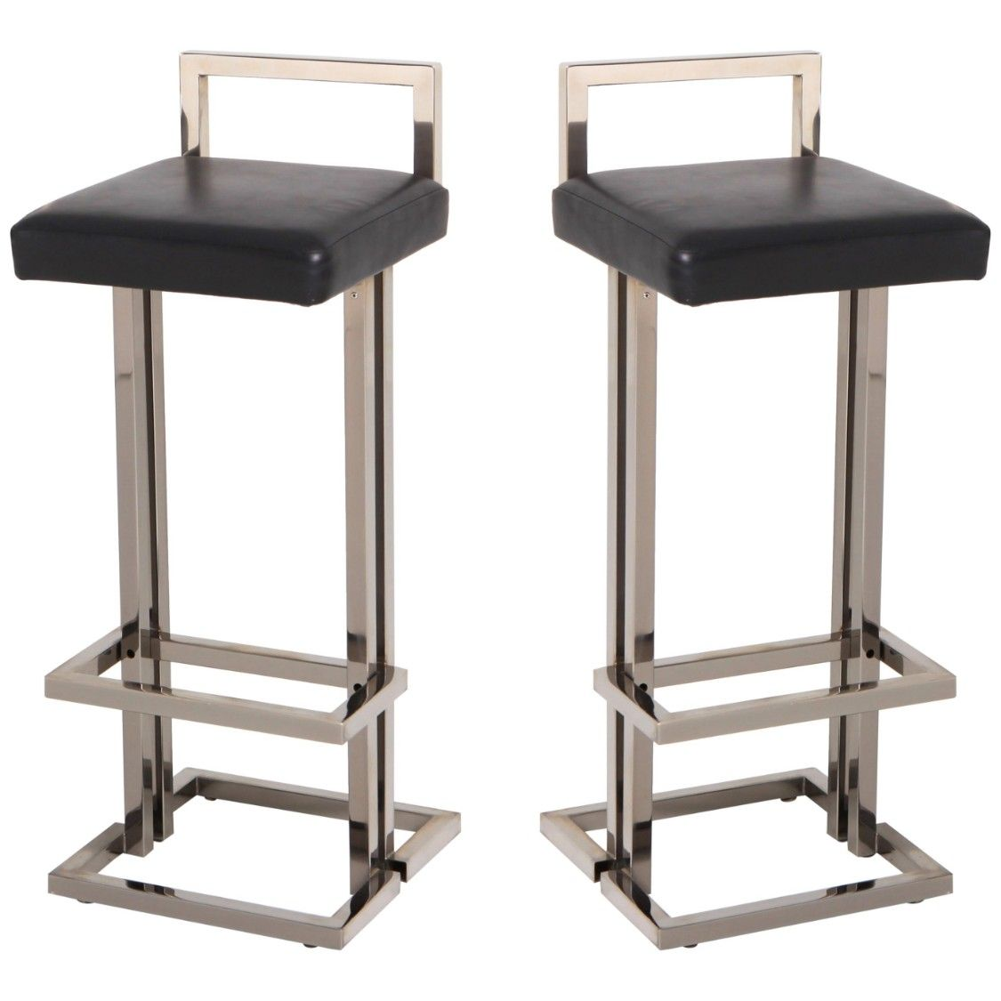 Wondrous Maison Jansen Chrome And Black Leather Bar Stools Gmtry Best Dining Table And Chair Ideas Images Gmtryco