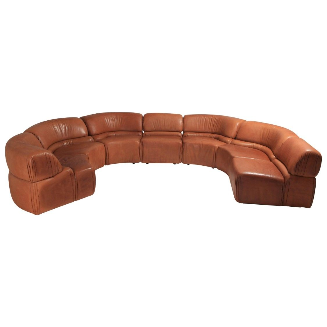 Sectional Cognac Leather Sofa Cosmos By De Sede Switzerland