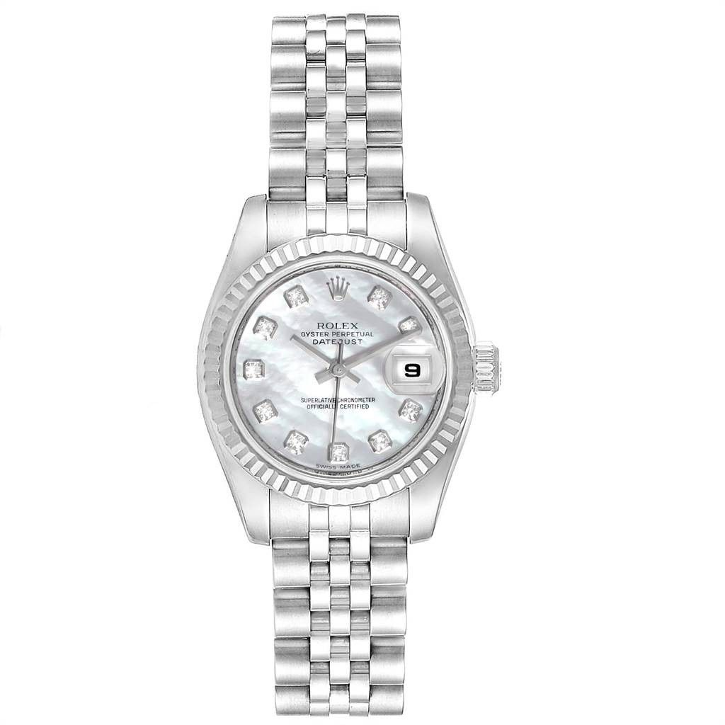 Rolex DATEJUST STEEL WHITE GOLD MOP DIAMOND LADIES WATCH 179174 BOX CARD