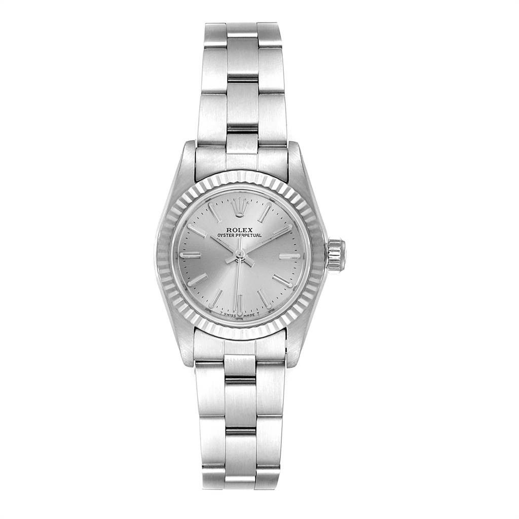 Rolex Oyster Perpetual Steel White Gold Silver Dial Ladies Watch 67194
