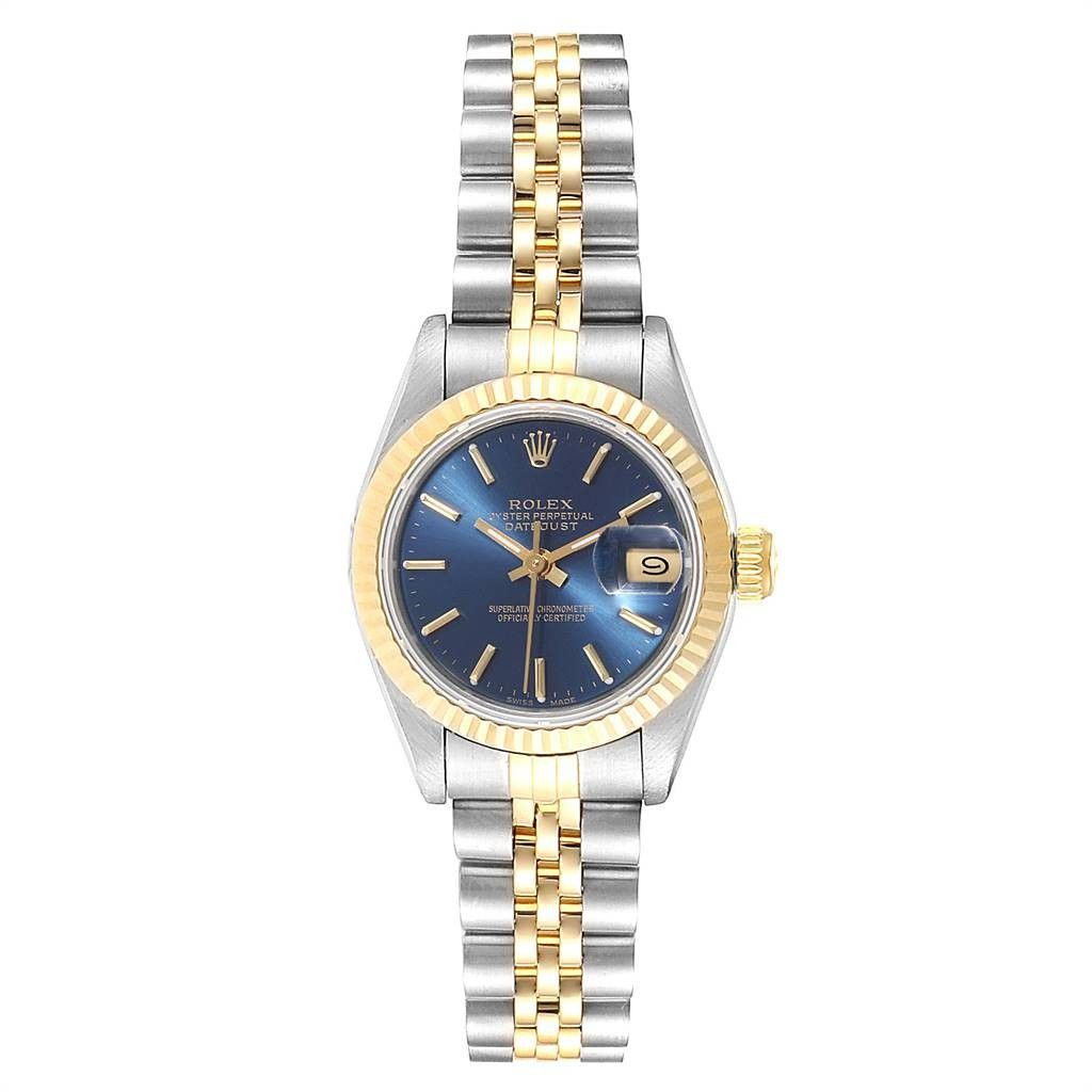 Rolex Lingerie Datejust 26 Steel Yellow Gold Blue Dial Ladies Watch 69173