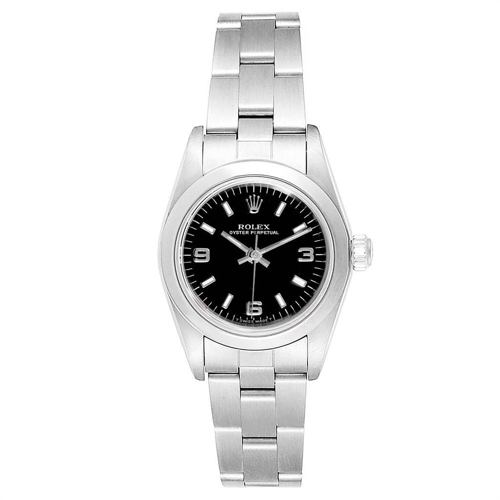 Rolex NON-DATE BLACK DIAL AUTOMATIC STEEL LADIES WATCH 76080