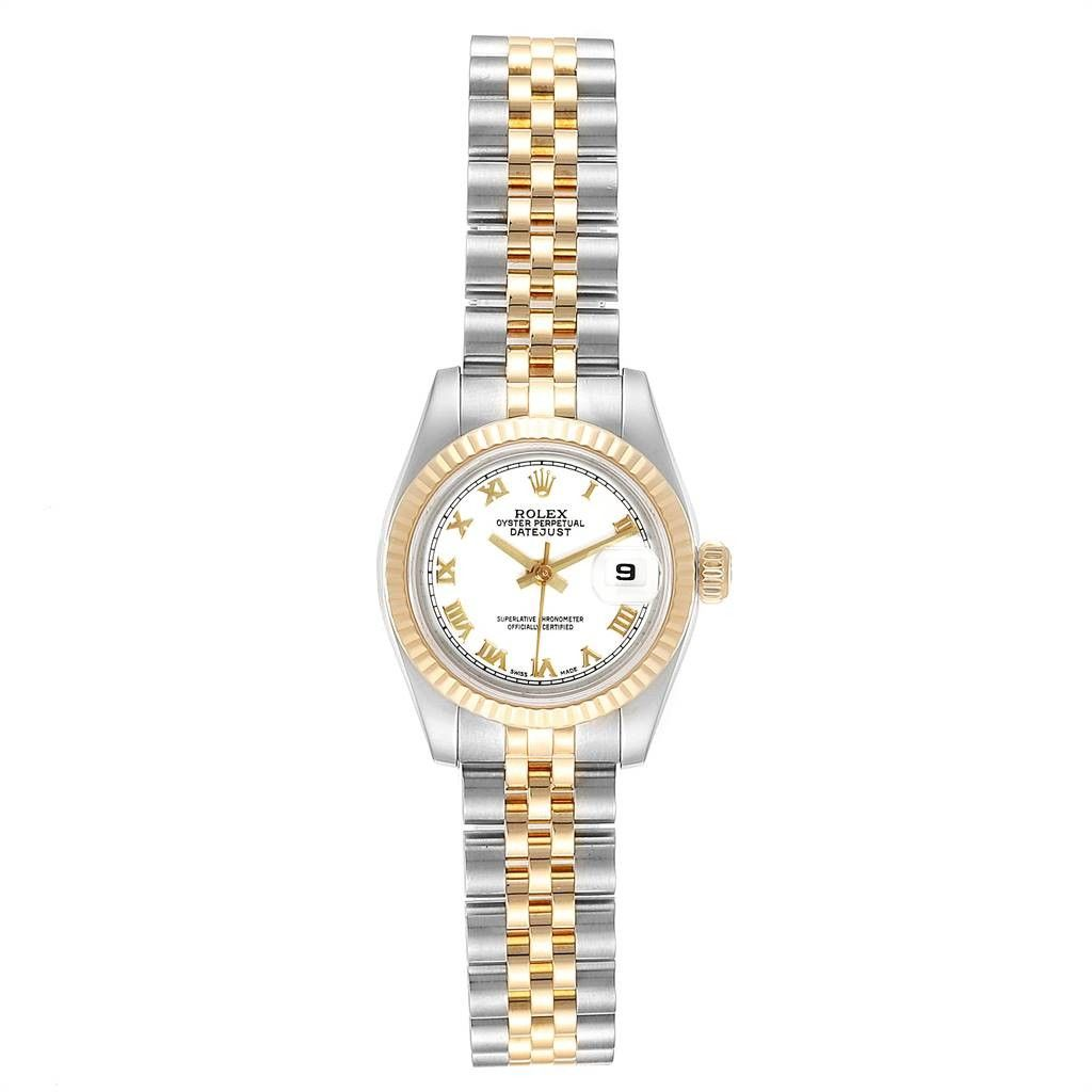 Rolex DATEJUST 26 STEEL YELLOW GOLD WHITE DIAL LADIES WATCH 179173
