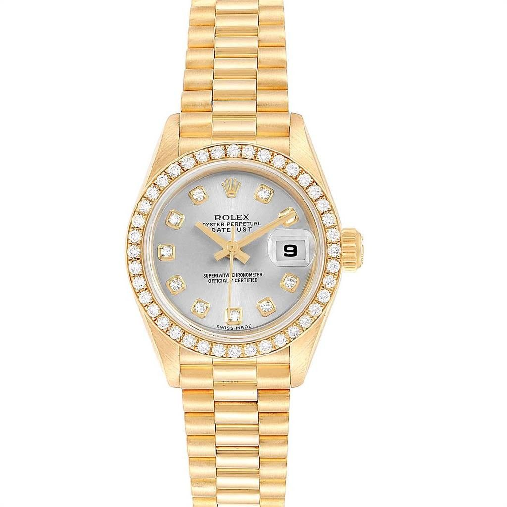 Rolex PRESIDENT DATEJUST 26 RHODIUM DIAL YELLOW GOLD DIAMOND WATCH 69178