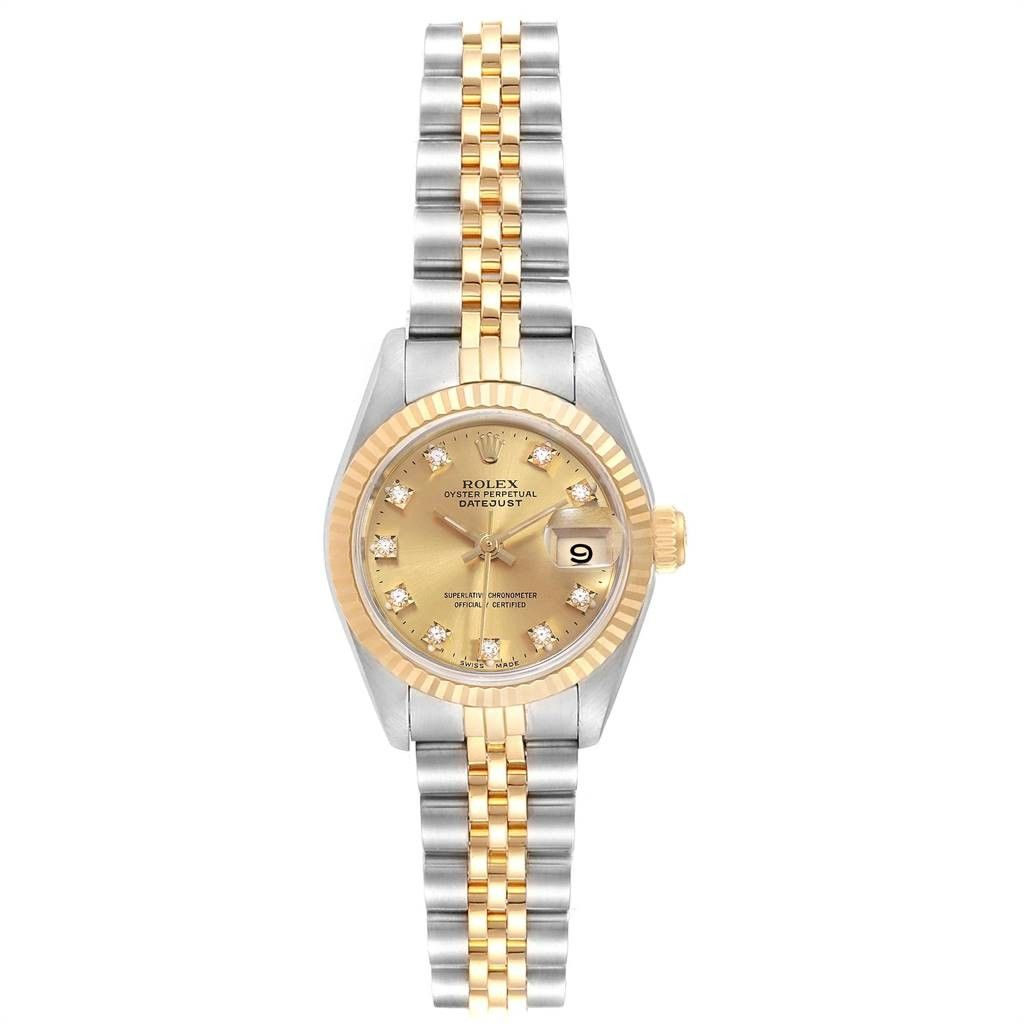 Rolex DATEJUST 26 STEEL YELLOW GOLD DIAMOND LADIES WATCH 69173