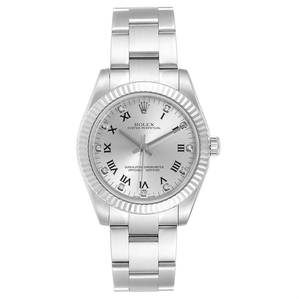 Rolex Oyster Perpetual Midsize Diamond Steel Ladies Watch 177234