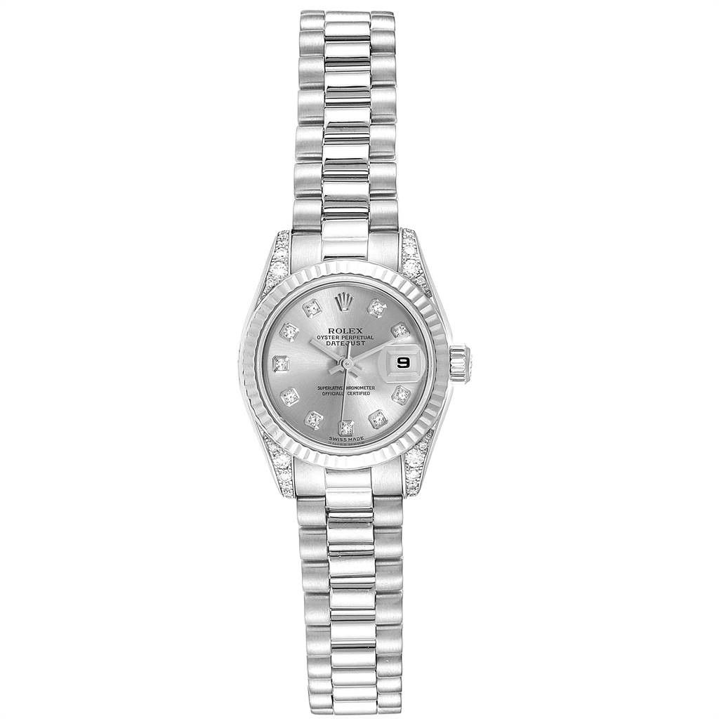 Rolex PRESIDENT CROWN COLLECTION WHITE GOLD DIAMOND LADIES WATCH 179239