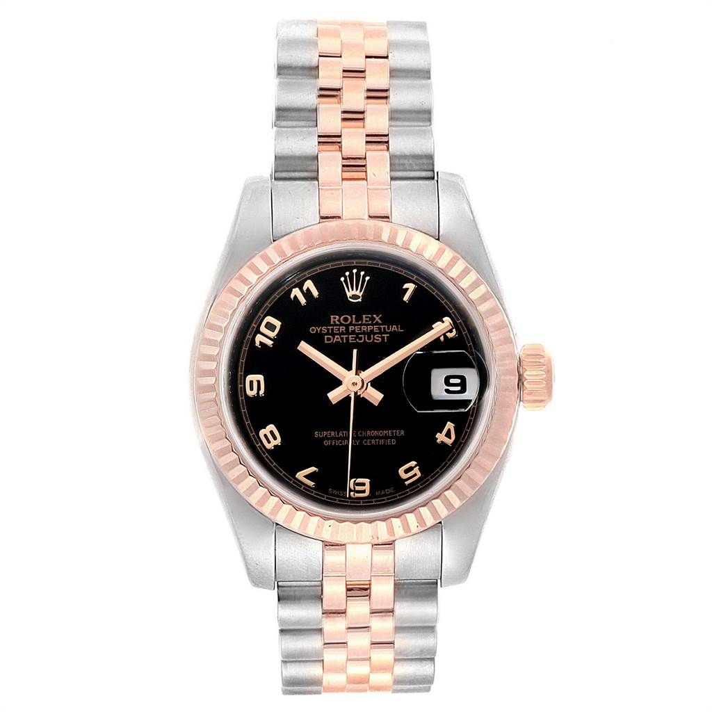 Rolex DATEJUST STEEL EVEROSE GOLD BLACK DIAL LADIES WATCH 179171