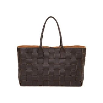 Woven Lam Leather Shopper Dark Brown
