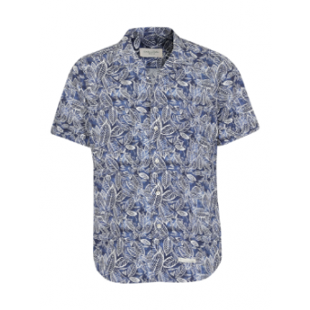 Short-Sleeved Floral Print Sky Blue Shirt