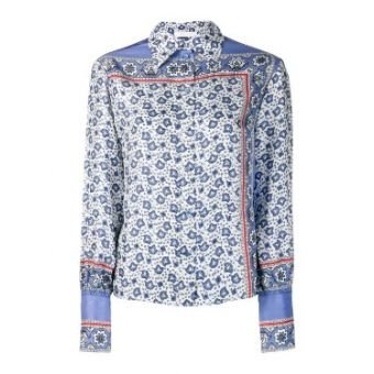 Blue Women's Paisley Print Silk Blouse