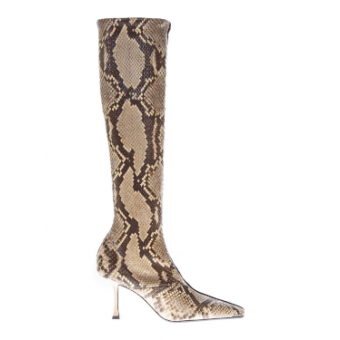 Python Leather And Suede Boots