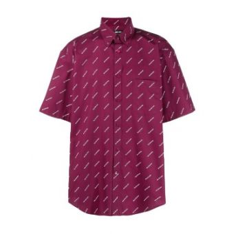 Red Men's Allover Logo Print Shirt