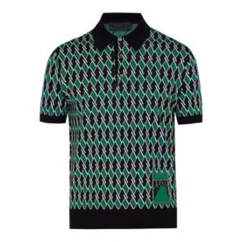 Jacquard Virgin-Wool Polo Shirt