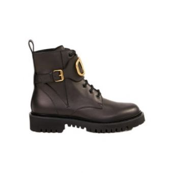 Combat Boots With V Logo Black