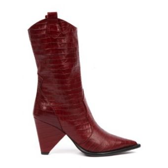 Red Cocodrile Effect Leather Boot