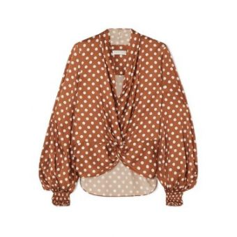Bette Polka-Dot Silk-Satin Blouse