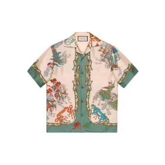 Warrior Print Silk Bowling Shirt