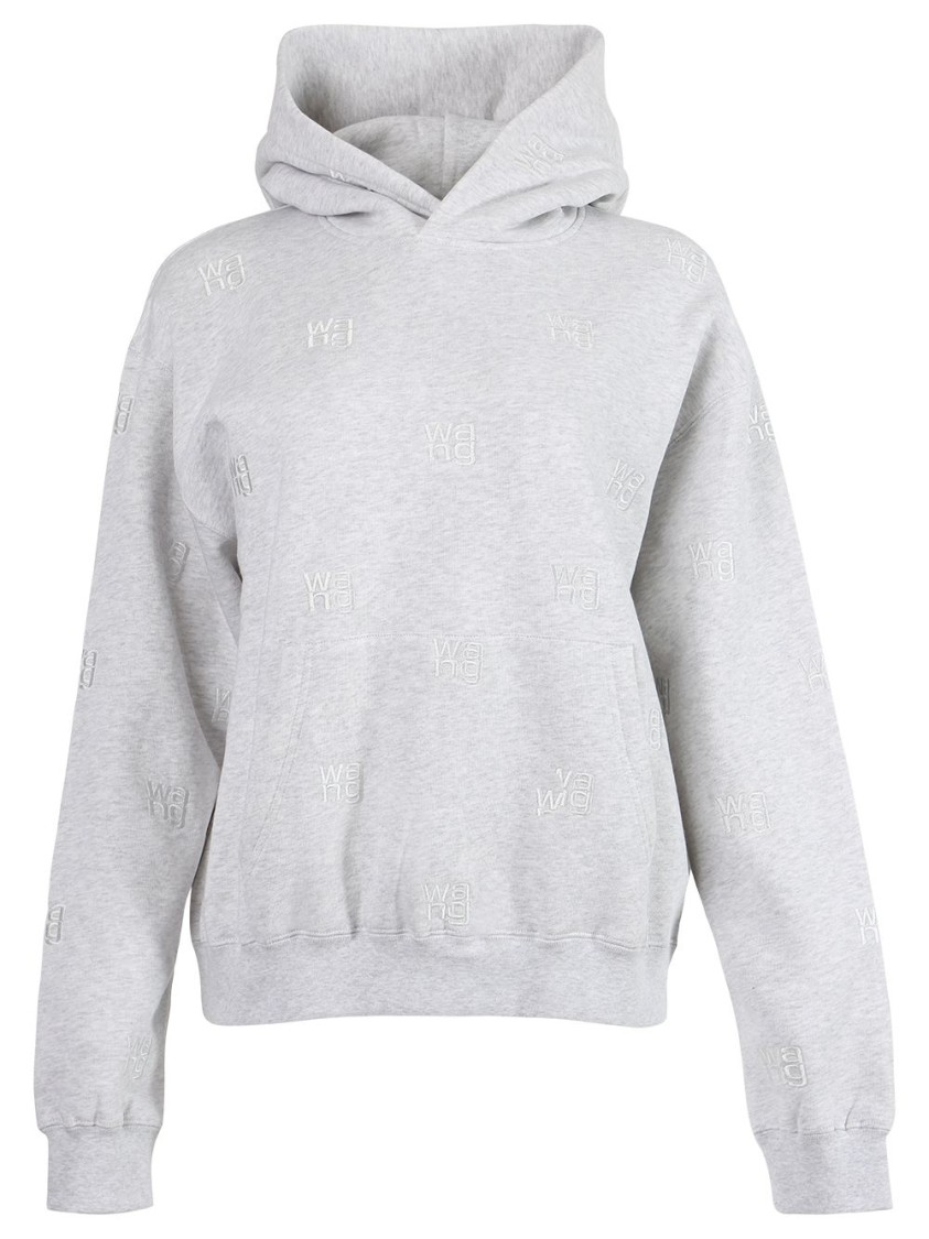 Alexander Wang LONG SLEEVE HOODIE WITH ALLOVER EMBROIDERY
