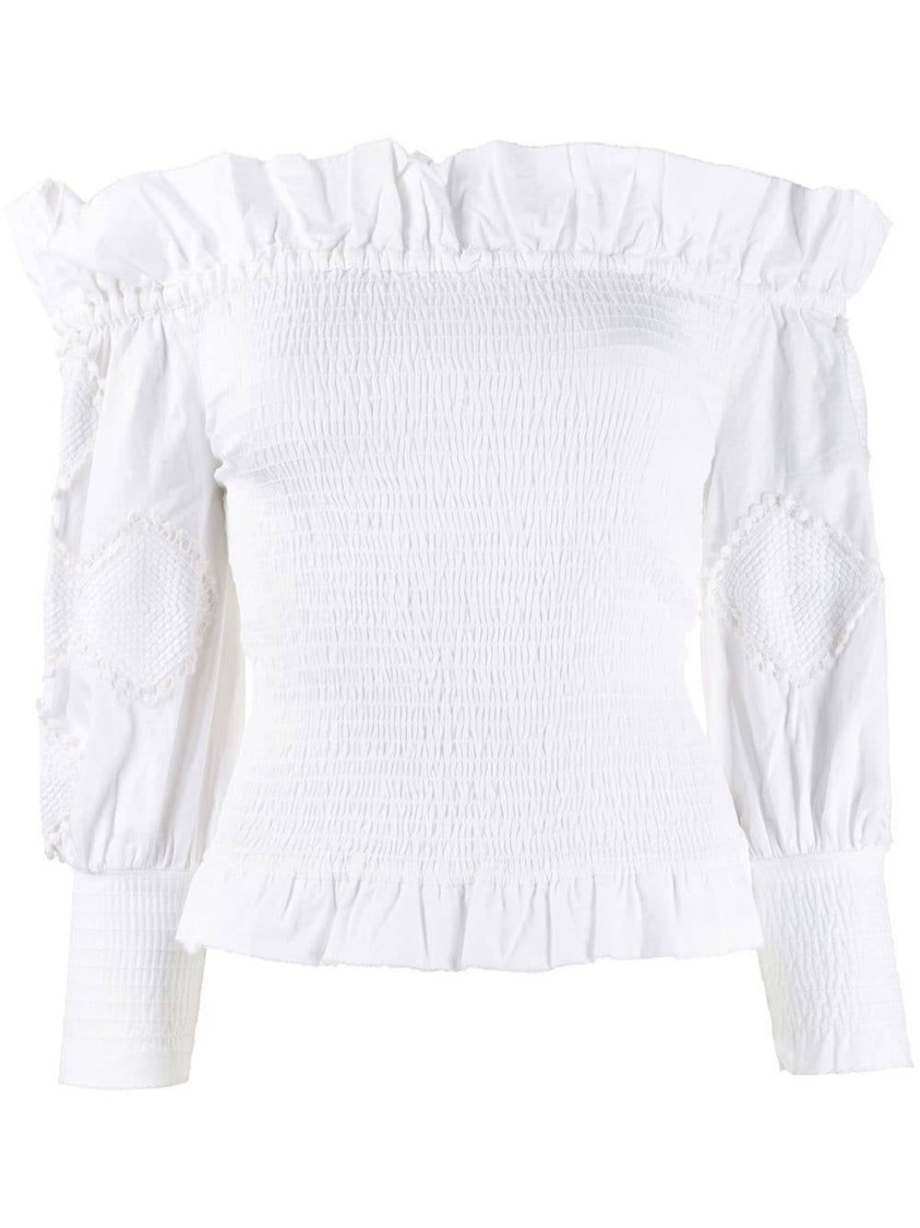 Chufy WHITE WOMEN'S OFF-SHOULDER FRILL TRIM TOP