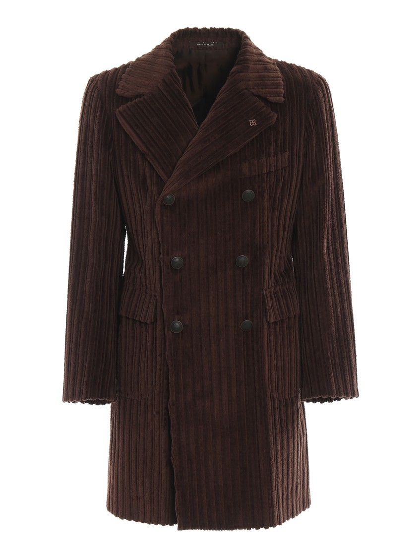 Ribbed Effect Chenille Coat