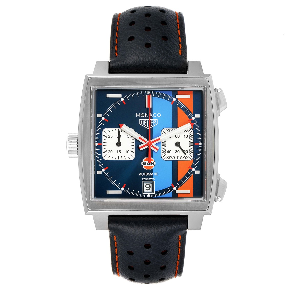 Tag Heuer MONACO GULF 2018 CHRONOGRAPH STEEL MENS WATCH CAW211R BOX PAPERS