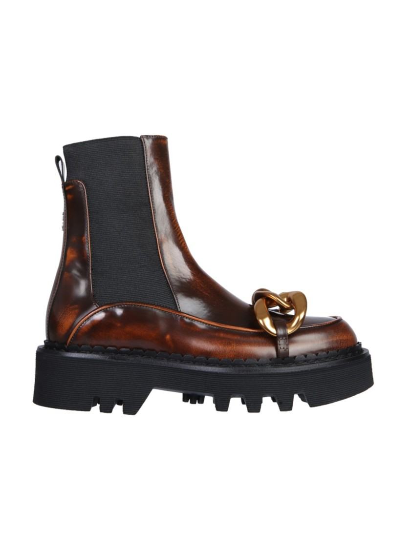 N°21 BROWN LEATHER ANKLE BOOTS
