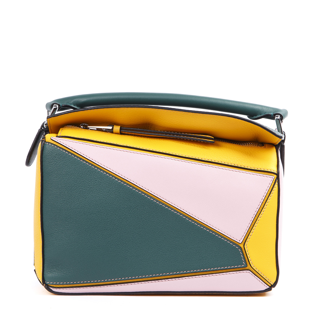 Loewe Multicolored Small Leather Puzzle Bag In Grey