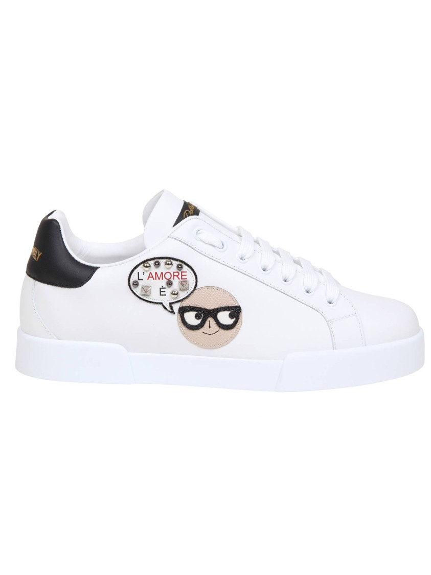 Dolce & Gabbana WHITE/BLACK LEATHER SNEAKERS