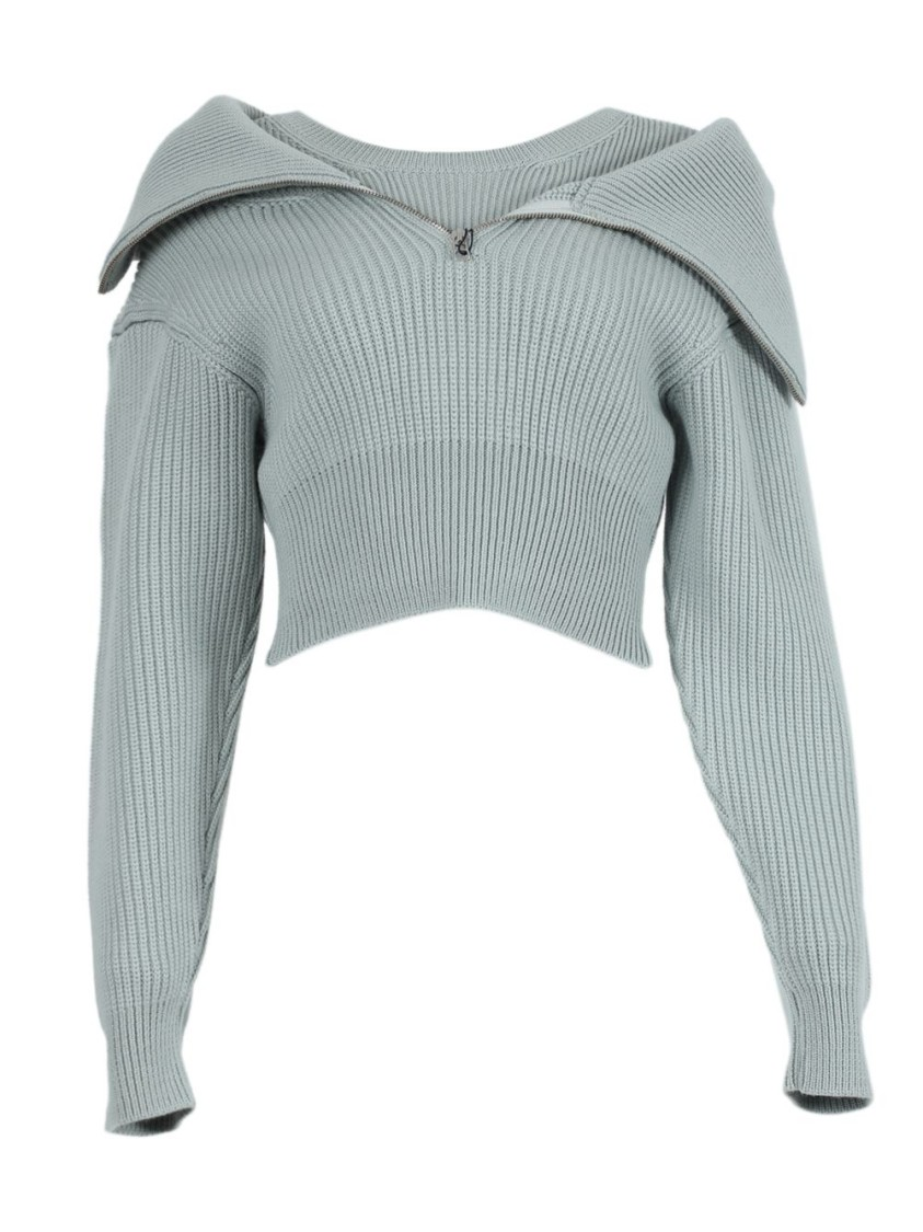 Jacquemus Wools LIGHT GREEN WOOL LA MAILLE RISOUL SWEATER