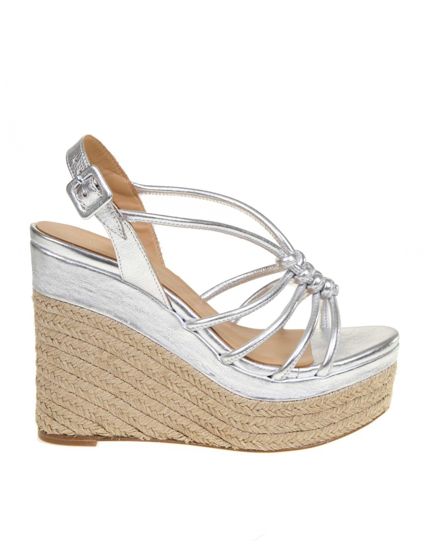 Paloma Barceló Wedges ARENA SILVER LAMINATED LEATHER SANDAL