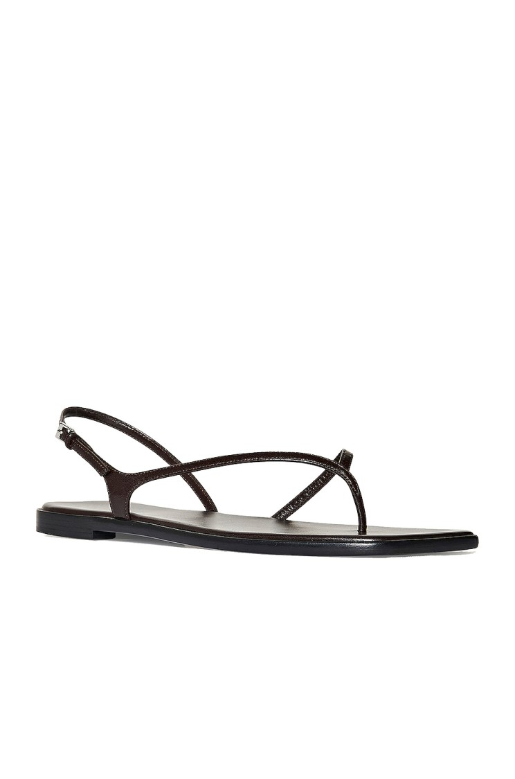 The Row Shoes CONSTANCE FLAT LEATHER SANDALS