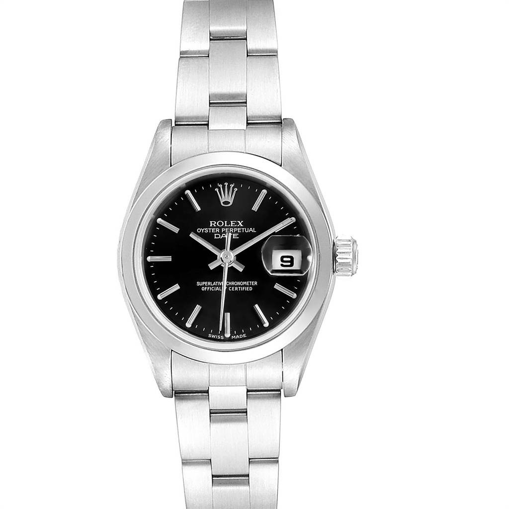 Rolex DATE BLACK INDEX DIAL AUTOMATIC STEEL LADIES WATCH 79160 BOX