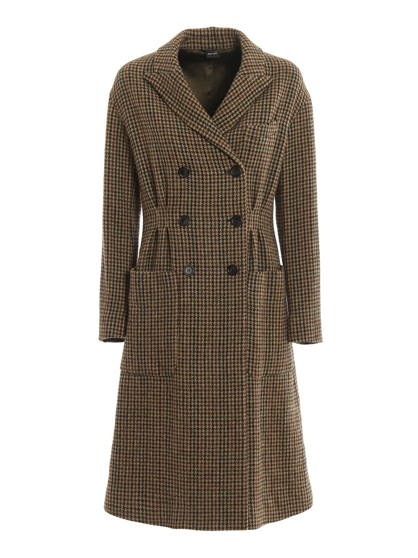 Aspesi Houndstooth Wool Double-Breasted Coat In Black