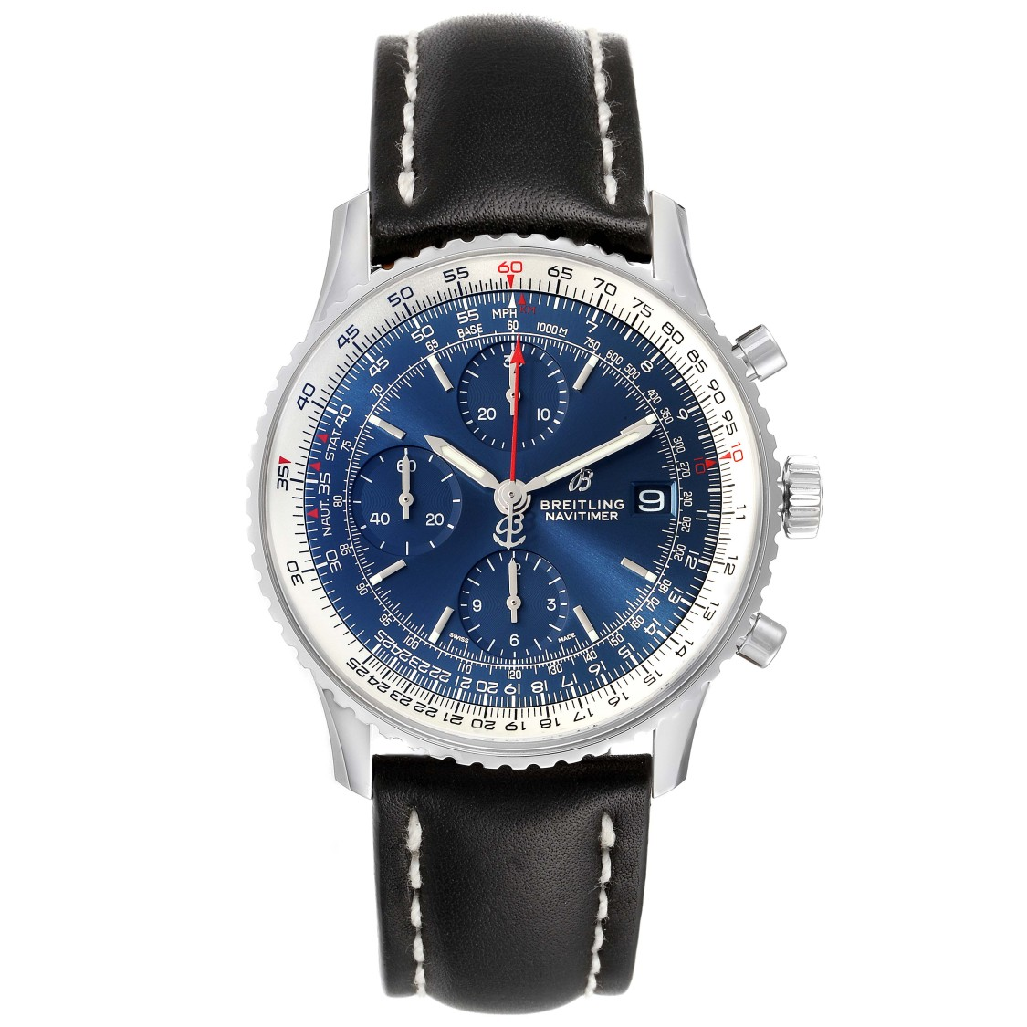BREITLING NAVITIMER HERITAGE BLUE DIAL STEEL MENS WATCH A13324 BOX PAPERS