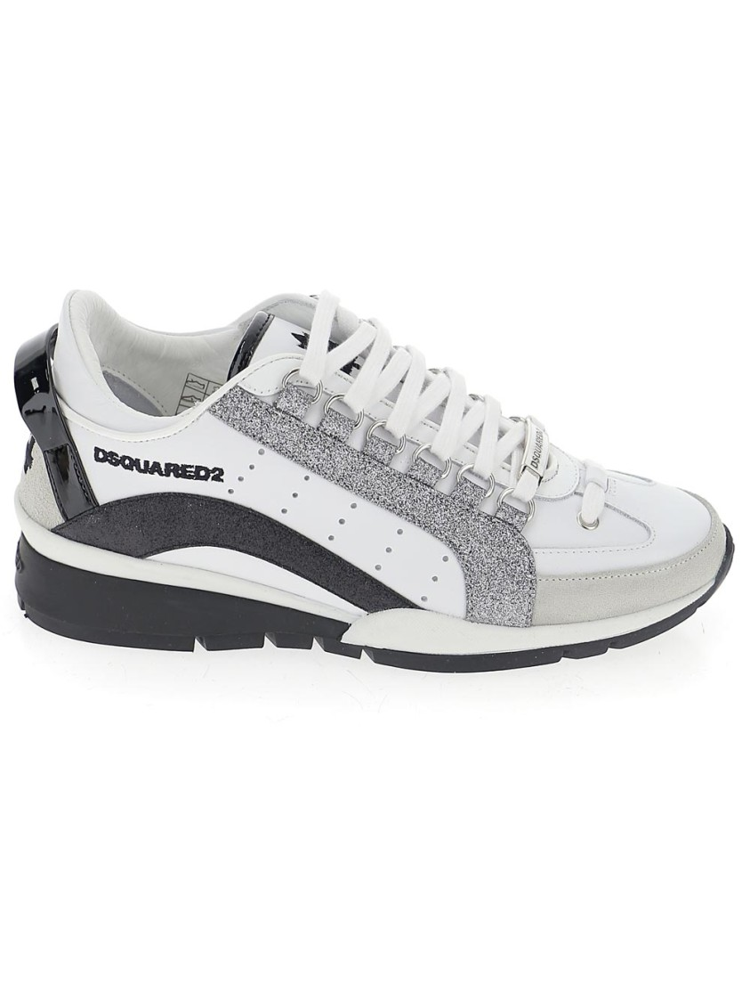 Dsquared2 WHITE/BLACK LEATHER SNEAKERS