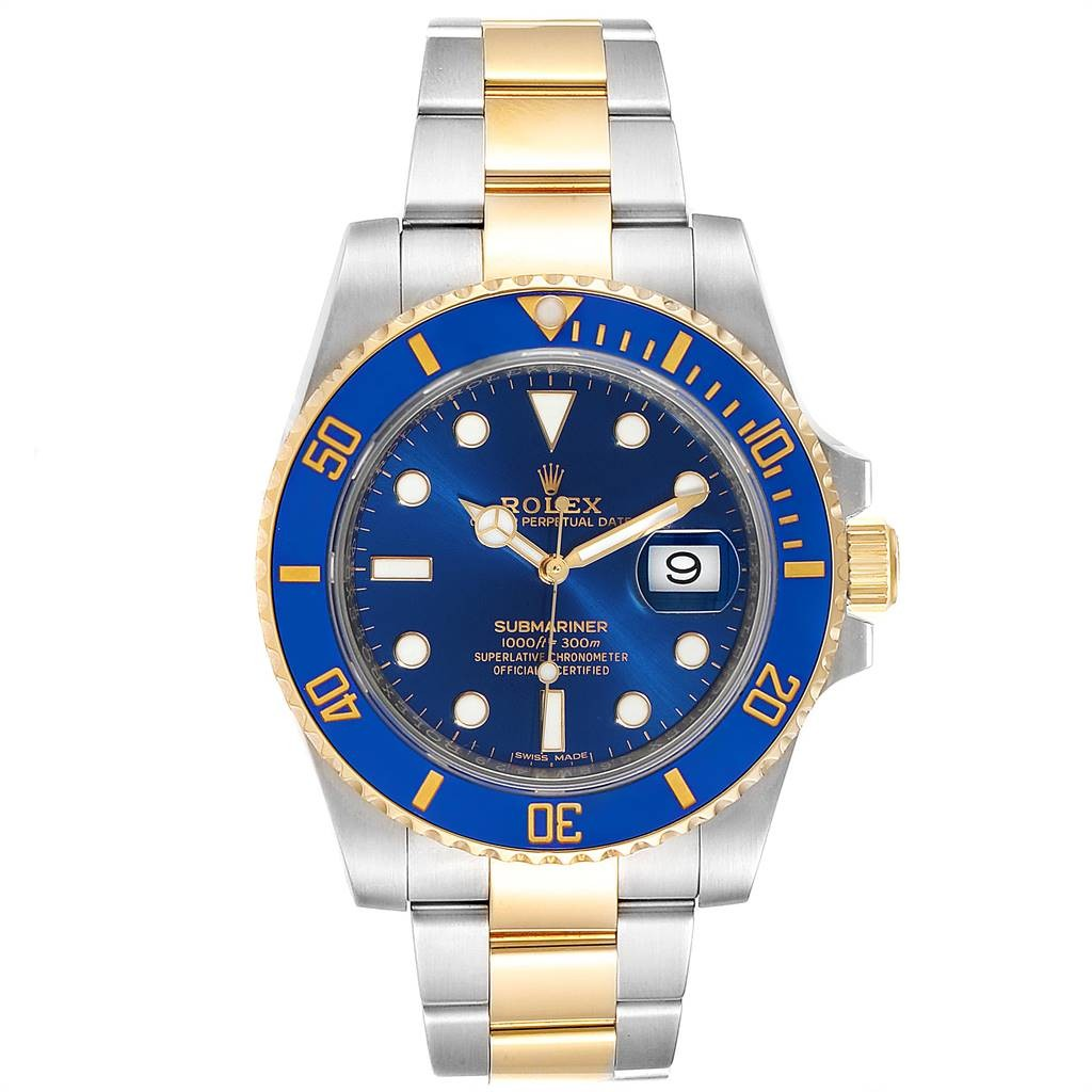 Rolex Lingerie SUBMARINER STEEL 18K YELLOW GOLD BLUE DIAL WATCH 116613