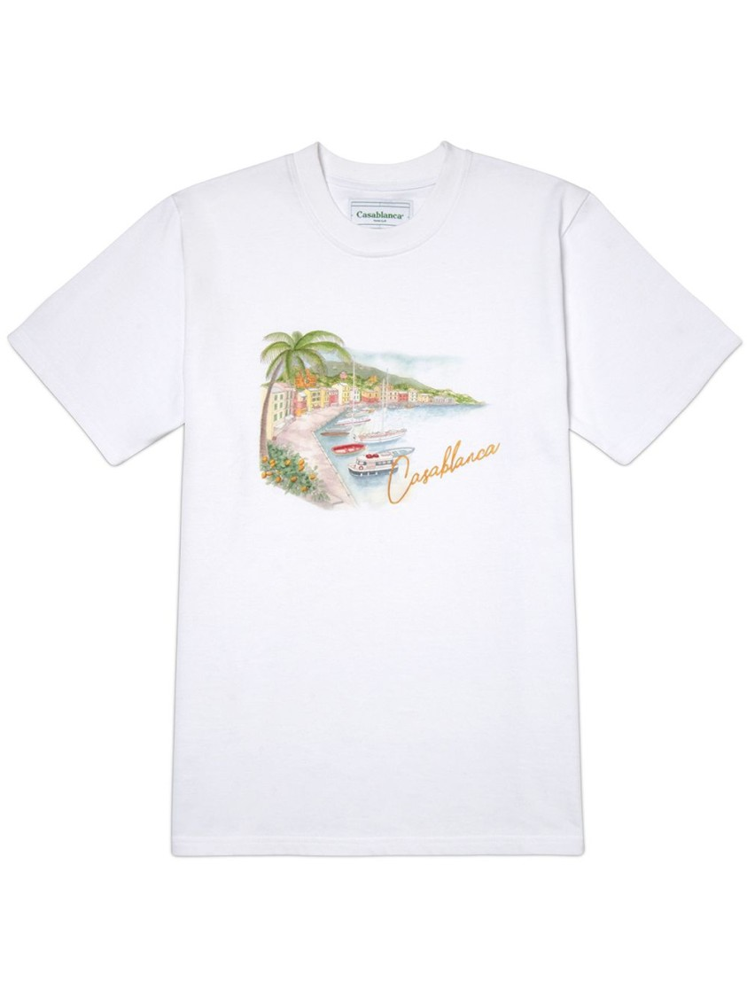 CASABLANCA PRINTED COTTON T-SHIRT