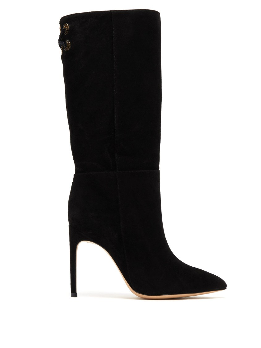 Sophia Webster Candice Slouchy Suede Boots In Black