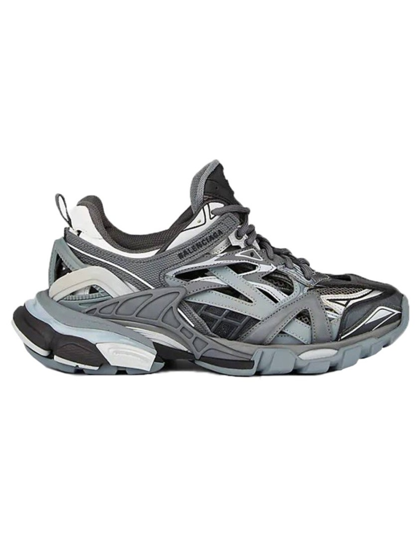 Balenciaga Track.2 Leather-trimmed Nylon, Mesh And Rubber Sneakers In 106 - Grey
