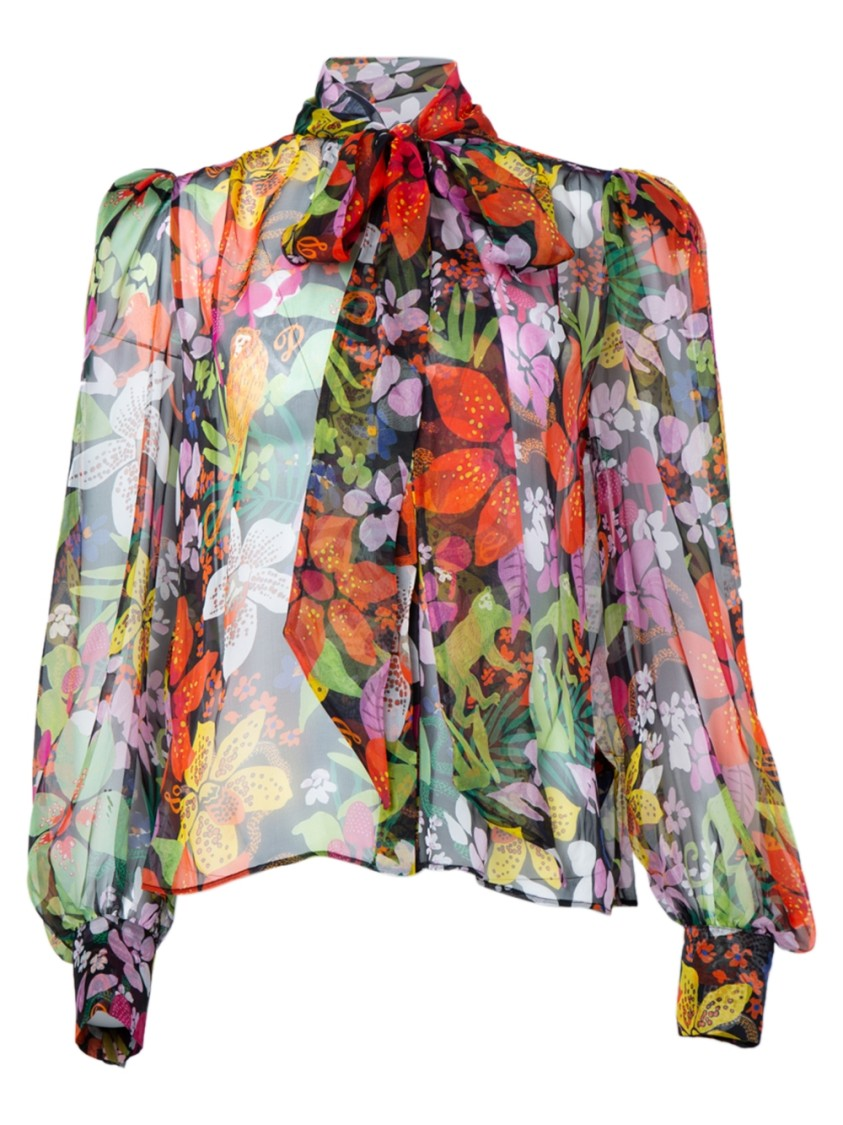 Dundas SHEER FLORAL PUSSY BOW BLOUSE