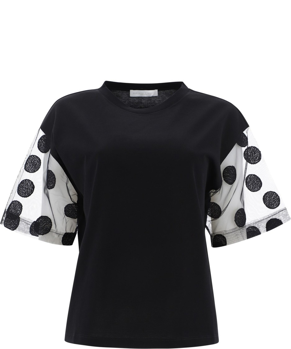 Fabiana Filippi BLACK COTTON T-SHIRT