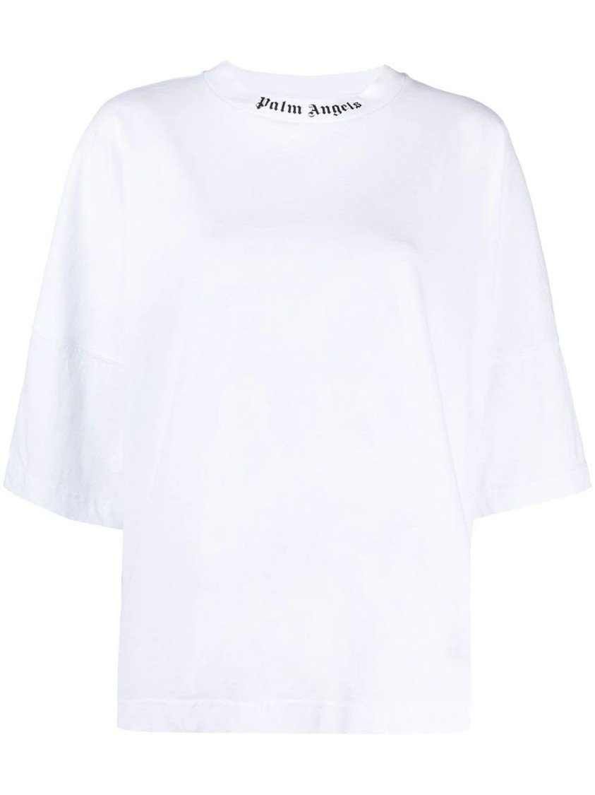 Palm Angels Cottons CLASSIC OVERSIZED LOGO COLLAR T-SHIRT