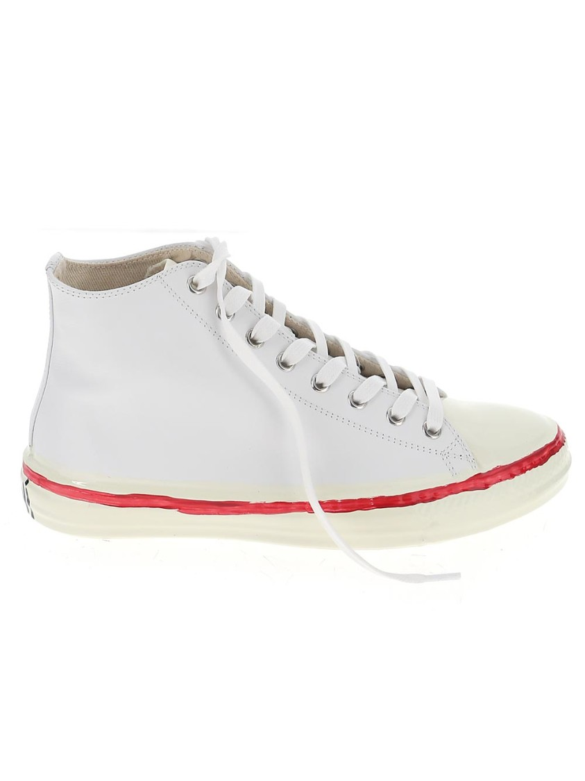 MARNI WHITE LEATHER HI TOP SNEAKERS
