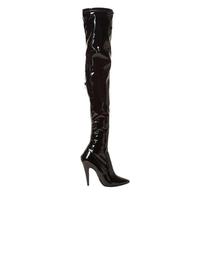 Saint Laurent BLACK PATENT THIGH-HIGH BOOTS