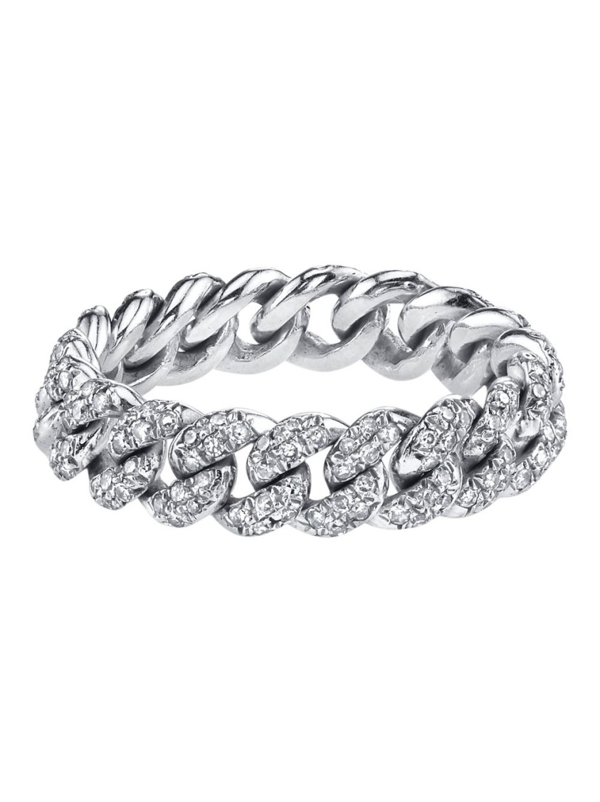 Shay 18K WHITE GOLD MINI PAVÉ LINK RING